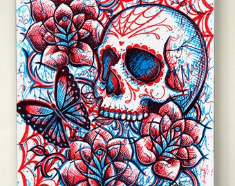 5x7 in Stretched Canvas Print - Neon Death II - Dia De Los Muertos Tattoo Flash Day of the Dead Sugar Skull Girl