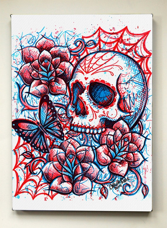5x7 In Stretched Canvas Print Neon Death Ii