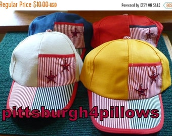 Save 10% 9 - Kids - Rhinestones -Baseball Caps - Elastic Back - 1 Cream,2 Blue,3 Gold, & 3 Red - State Color When Ordering