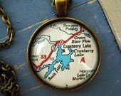 Custom Map Jewelry, Cranberry Lake New York Vintage Map Pendant Necklace, Personalize Map Jewelry, Map Cuff Links, Groomsmen Gift Ideas