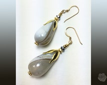 Hook Earrings Banded Agate Teardrops Striated Lengthwise Gold Tulip Bead Caps Hematite Crystal Rondels Earrings 14K Gold Filled Ear Wires