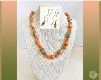 "18"" Necklace Peach Pink Moss Green AAA Unakite AAA Carnelian AAA Peach Sardonyx 18k Gold Vermeil Spacers And/Or Matching Earthread Earrings"