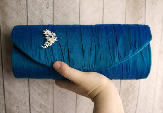 Deep teal gathered silk clutch with rhinestone pearl brooch, formal clutch purse, teal clutch, teal evening bag, gift for her
