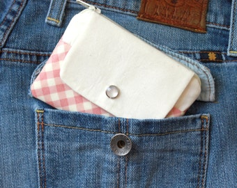 Back to School Sale, Minimalist Wallet, Zipper Coin Purse, Small Pink Girl's Wallet, Cardholder Coin Purse, Card Holder Wallet, ID Holder