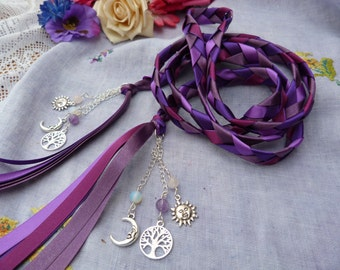 Purple Handfasting sun and moon cord- with charms and semi precious beads