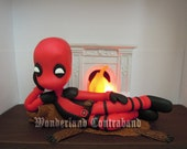 NEW - Deadpool Fireplace Centerfold - ORIGINAL OOAK Miniature Sculpture - Light Decor