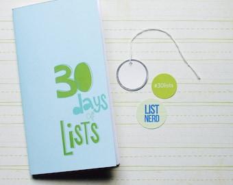 30 Days of Lists . Midori Travelers Fauxdori Notebook Sketchbook Jotter Refill Insert . Art Journal Agenda . Listing List Listers Challenge
