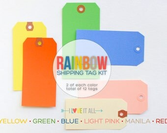 Colorful Shipping Tags . Rainbow Red Green Yellow Blue Pink Manila . Mixed Media Collage Scrapbooking Travelers Notebook Mini Album Midori
