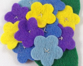 Marikit Designs Yellow blue and purple flower hair clip.  Ready to ship. Spring flowers.