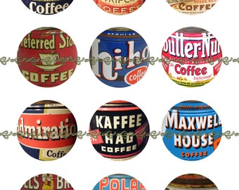 Coffee Label Pins Magnets, Vintage Coffee Can Labels, Party Favors, Fridge Magnets