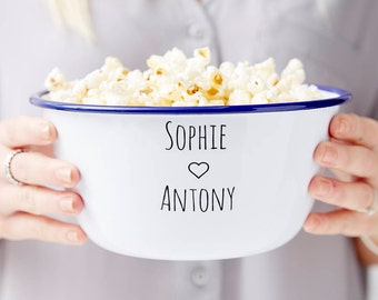 Couples Enamel Personalised Popcorn Bowl