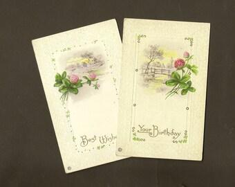 Pair Stecher Litho Vintage Birthday Postcard Pink Four Leaf Clover 1915