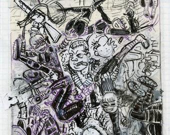 Original Preliminary Sketch by David Jablow 2016 Thumbnail Art Collage Drawing B
