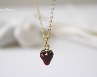Strawberry Necklace in Red Wine. Gold Chain Necklace. Sweet and Cute. Girls. Gift For Her (PNL-83)