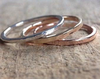 3 Mixed Metal Rings, TriColor Ring Stack, Skinny Rings, Stackable Rings, Sterling Silver Ring, 14K Gold Filled Ring, Rose Gold Filled Ring