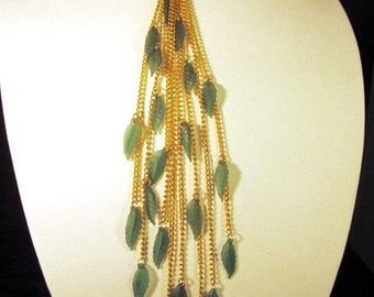 Gold and Green Leaf Waterfall Necklace