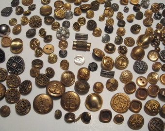 Vintage Buttons 150 Buttons Collection Gold tone and silver tone variety of shapes
