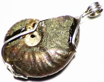 """Ammonite Necklace, Fossil Pendant in Sterling Silver, """"Opalized"""" Ammonite Necklace, Real Fossil, Mother of Pearl Jewelry, Fossil Necklace"""