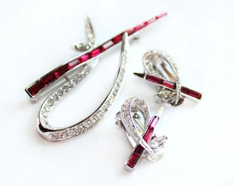 Signed AVON OF BELLEVILLE Ruby Baguette and Crystal Rhinestone Brooch and Earring Demi Parure