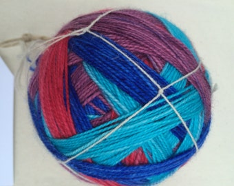 Red, Purple, Blue, and Aqua Self Striping Sock Yarn Superwash Merino Fingering Weight