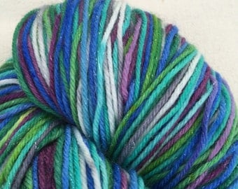 Sparkle Sock Yarn Blue, Green, Purple, Aqua and Grey & White Self Striping Superwash Merino Fingering Weight