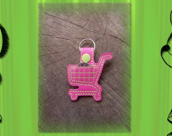 Shopping Cart Embroidered Key Fob, Key Chain, Luggage Tag, Bag Clip, Vinyl, Key Ring, Purse Charm, Loonie, Quarter, Pink and Lime Green