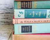 Reserved Pink & Mint Books Instant Library Collection by Color Photography Props Vintage Decorative Books Shabby Chic Pastel