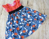 RTS size 4/5 Spooky Orange Halloween Short Sleeve Lap Dress. Ready to ship