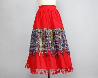 Guatemalan Skirt M/L • Fringe Skirt • Cotton Midi Skirt • Elastic Waist Skirt • Red Skirt • Full Skirt • Rainbow Skirt • Boho Skirt   SK461