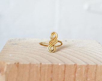 "Infinity Wrap Ring Size 7 • Brass Coil ""S"" Ring with Adjustable Band • Boho Statement Ring 