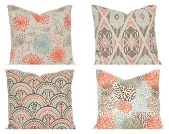 Fall Pillow Covers - Decorative Pillow Covers - Sofa Pillows - Aqua and Orange on Linen - Fall Decorating - Couch Pillow - Orange Pillow