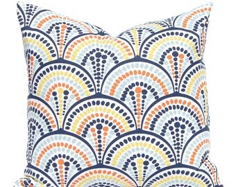 Pillow Sham - Orange, Aqua and Yellow - Throw Pillow Covers - Geometric Arcs - Aqua Pillow Cover - Yellow Pillow Covers - Navy Blue Pillow