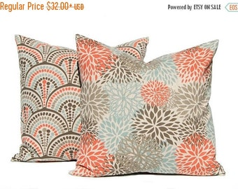 SALE Fall Pillow Covers - Orange Pillow Covers - Throw Pillow Covers - Sofa Pillow Covers - Aqua Orange on Linen - Living Room Decor