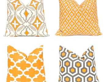 Orange Pillow Covers - Decorative Pillow Covers - Orange and Gray Pillows Covers - Autumn Pillows - Fall Decor - Throw Pillow Covers