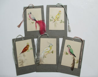 Vintage Bird Tags Cards Ephemera - Hand Painted - Collage, Journal Making - Mixed Media Art - 5 in Lot