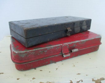 Small Vintage Metal Boxes - Two in Lot - Red and Blue - Industrial Decor - Studio Decor