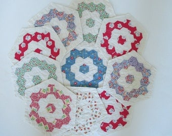Vintage Hand Pieced Quilt Blocks - 10 in Lot - Hexagon Shape - Sewing - Quilting - Shabby, Cottage Decor - Red, Blue, Green, Yellow Floral