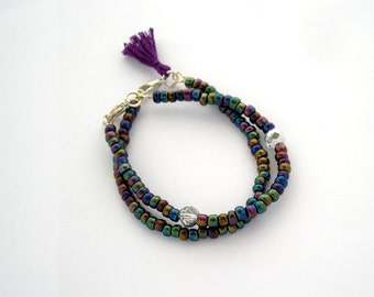 Iridescent stacking bracelet, arm candy, tassel bracelet, skinny bracelet, friendship layering bracelet, peacock sparkly bracelet, set of 2