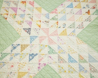 """Lovely Pastels Ocean Waves Vintage Quilt Piece - 23"""" x 23"""" -Sweet Prints & Feed Sacks, Small Pieces, Dense Quilting - Slightly Primitive"""