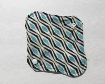 "Cloth Panty Liner Organic Cotton Fleece 8"" Raindrops"