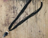 Beaded Necklace with Gold Plated Obsidian Arrowhead