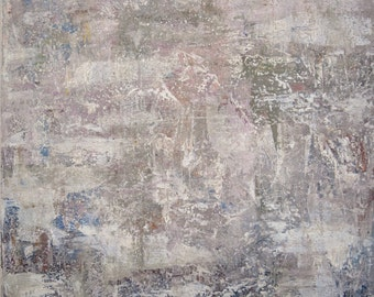 Large Abstract Painting Square  expressionism texture neutral grays sage lavender  36 x 36  Like Home  Swalla Studio