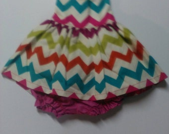 """Baby Alive  And Waldorf Doll Clothes Adorable Dress 10"""" 12"""" Or 15"""" Rainbow Chevron"""