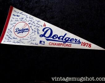 1978 Los Angeles Dodgers Baseball Pennant Original  Lopes Sutton John Garvey Baker Seventies MLB LA