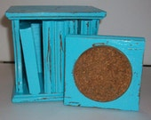 6 Vintage Shabby Chic Wood Coaster Set in Indian Turquoise, w/ Distressed Faux Finish