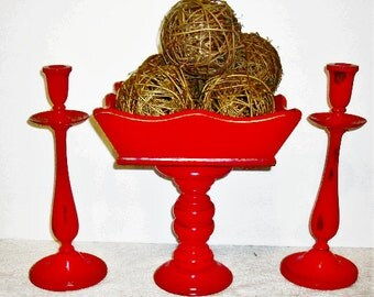 Distressed Barn Red Wooden Fruit Pedestal Bowl w/ Matching Candlesticks