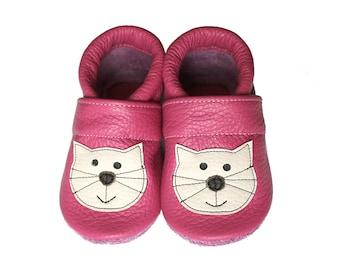 Leather Baby Booties, Baby Shoes, Cat Kitten Infant Newborn Nursery Children Pink Beige