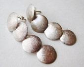 Vintage Brushed Sterling Silver Round Disc Pierced Drop Dangle Earrings