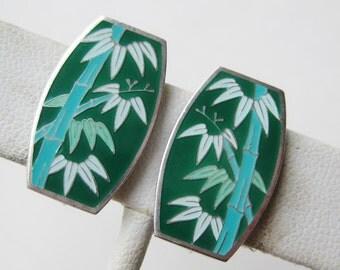 Vintage Japanese Sterling Silver Green Enamel Bamboo Screwback Earrings