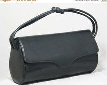 1930s Black Handbag - Modernist 30s Leather Purse - Art Deco Accessories - Knotted Handle - Envelope Flap - Depression Era - 45111